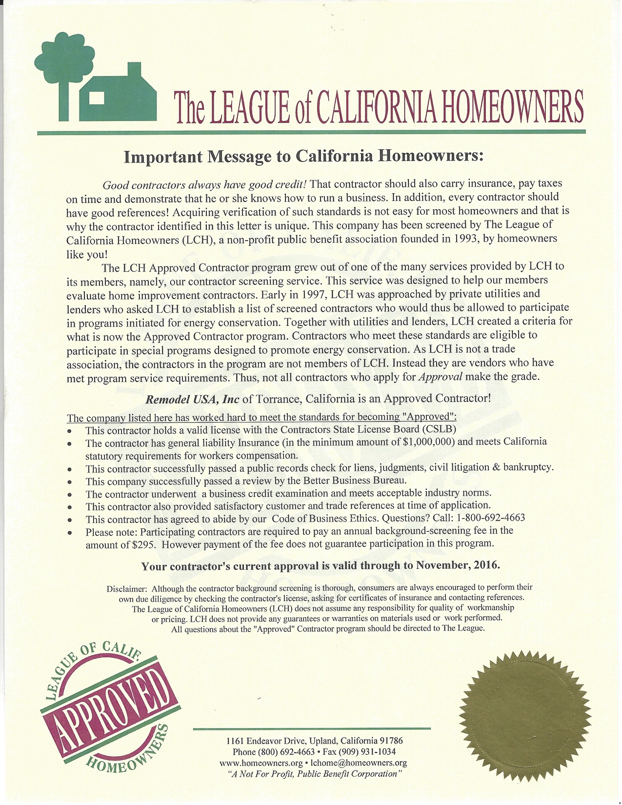 League of Claifornia Homeowners Letter